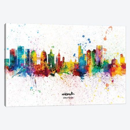 Oakland California Skyline Splash Canvas Print #MTO2291} by Michael Tompsett Canvas Print