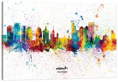 Oakland California Skyline Splash Canvas Art Print