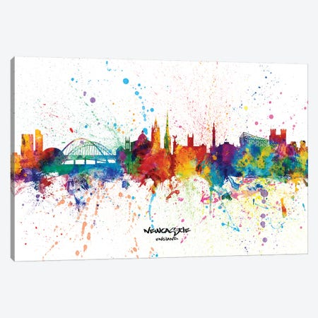 Newcastle England Skyline Splash Canvas Print #MTO2293} by Michael Tompsett Canvas Print