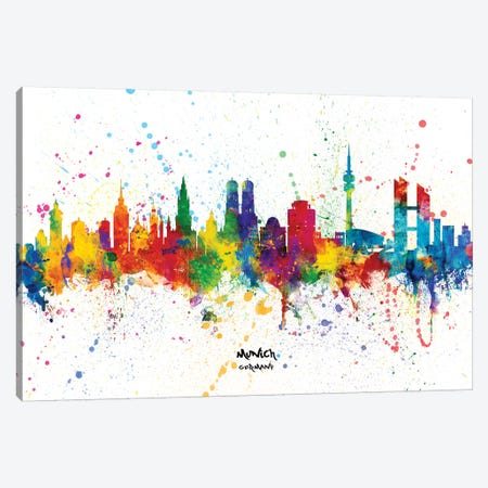 Munich Germany Skyline Splash Canvas Print #MTO2294} by Michael Tompsett Canvas Art