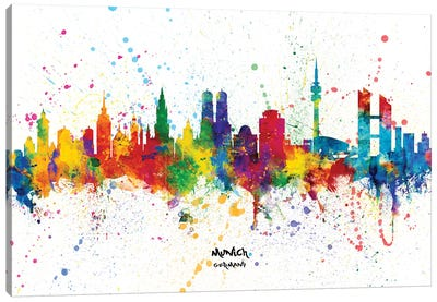 Munich Germany Skyline Splash Canvas Art Print