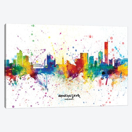 Manchester England Skyline Splash Canvas Print #MTO2295} by Michael Tompsett Canvas Artwork