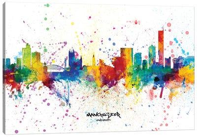 Manchester England Skyline Splash Canvas Art Print