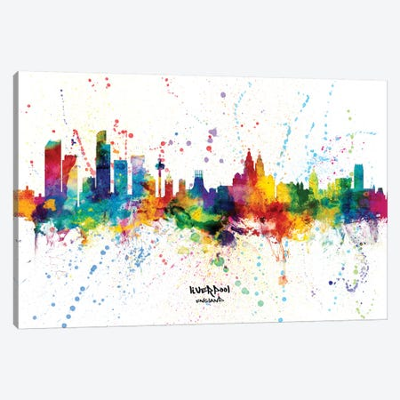 Liverpool England Skyline Splash Canvas Print #MTO2296} by Michael Tompsett Canvas Art