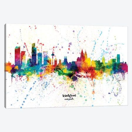 Liverpool England Skyline Splash Canvas Print #MTO2296} by Michael Tompsett Canvas Art