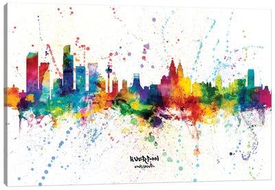 Liverpool England Skyline Splash Canvas Art Print