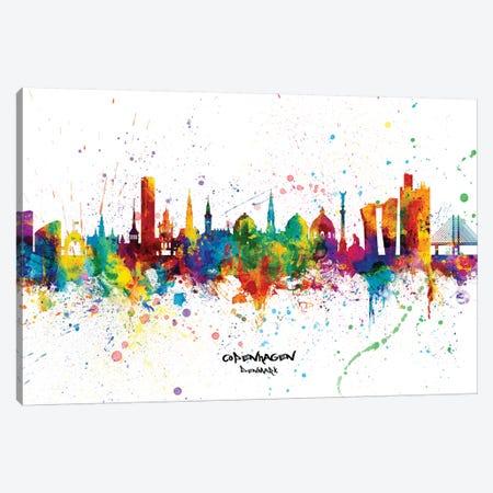 Copenhagen Denmark Skyline Splash Canvas Print #MTO2297} by Michael Tompsett Canvas Wall Art