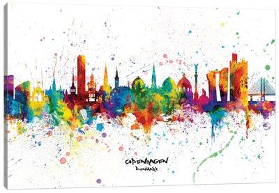 Copenhagen Denmark Skyline Splash Canvas Art Print