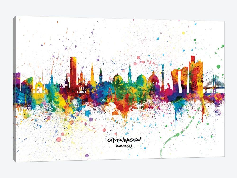 Copenhagen Denmark Skyline Splash by Michael Tompsett 1-piece Canvas Art