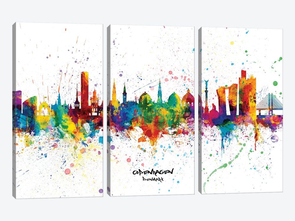 Copenhagen Denmark Skyline Splash by Michael Tompsett 3-piece Canvas Wall Art