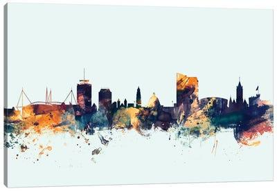 Skyline Series: Cardiff, Wales, United Kingdom On Blue Canvas Print #MTO229