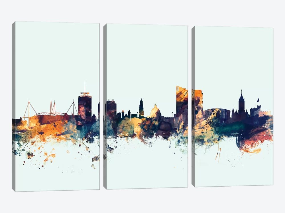 Skyline Series: Cardiff, Wales, United Kingdom On Blue by Michael Tompsett 3-piece Canvas Print