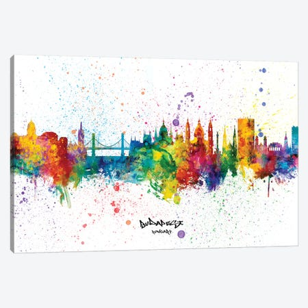 Budapest Hungary Skyline Splash Canvas Print #MTO2300} by Michael Tompsett Canvas Art Print