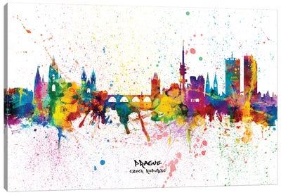 Prague Czech Republic Skyline Splash Canvas Art Print