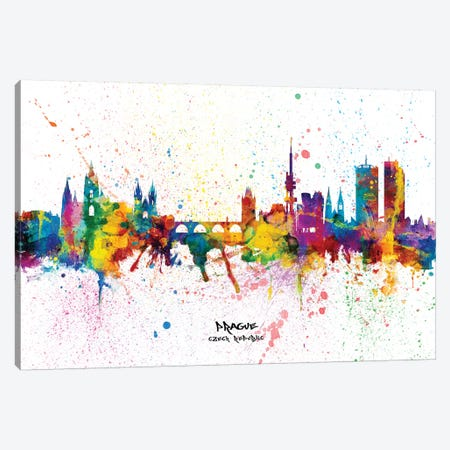 Prague Czech Republic Skyline Splash Canvas Print #MTO2301} by Michael Tompsett Canvas Art Print