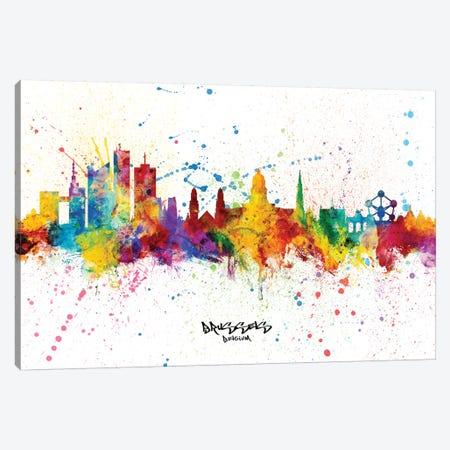 Brussels Belgium Skyline Splash Canvas Print #MTO2303} by Michael Tompsett Canvas Art Print