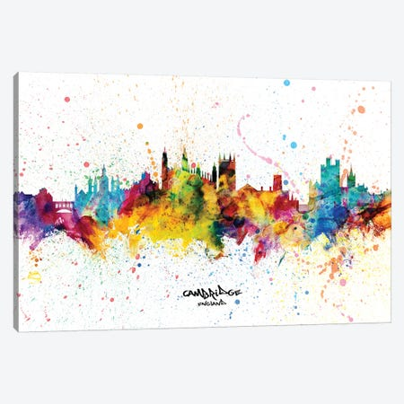 Cambridge England Skyline Splash Canvas Print #MTO2304} by Michael Tompsett Canvas Wall Art