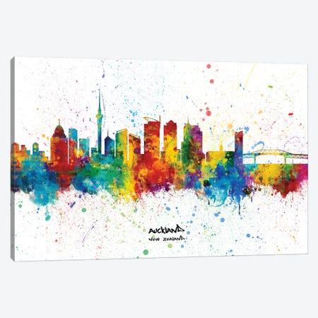 Auckland New Zealand Skyline Splash Canvas Print #MTO2305} by Michael Tompsett Canvas Art