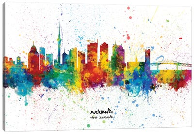 Auckland New Zealand Skyline Splash Canvas Art Print