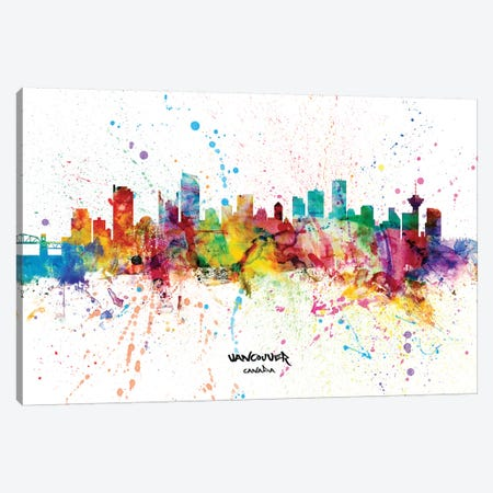Vancouver Canada Skyline Splash Canvas Print #MTO2306} by Michael Tompsett Canvas Wall Art