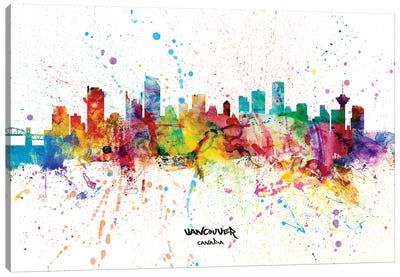 Vancouver Canada Skyline Splash Canvas Art Print