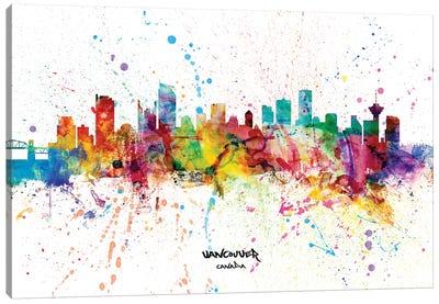 Vancouver Canada Skyline Splash Canvas Art Print