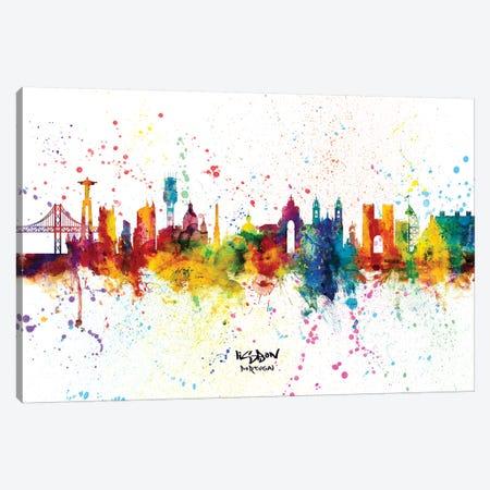 Lisbon Portugal Skyline Splash Canvas Print #MTO2307} by Michael Tompsett Canvas Artwork