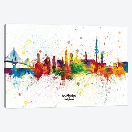 Hamburg Germany Skyline Splash Canvas Print #MTO2308} by Michael Tompsett Canvas Art Print