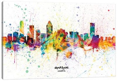 Montreal Canada Skyline Splash Canvas Art Print