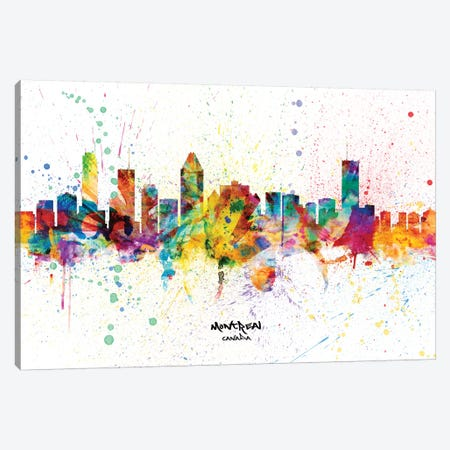 Montreal Canada Skyline Splash Canvas Print #MTO2309} by Michael Tompsett Art Print