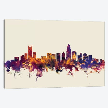 Charlotte, North Carolina, USA On Beige Canvas Print #MTO230} by Michael Tompsett Canvas Art