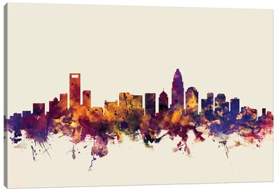 Charlotte, North Carolina, USA On Beige Canvas Art Print