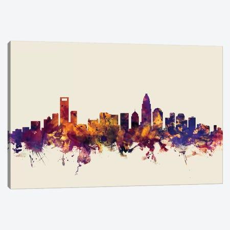 Charlotte, North Carolina, USA On Beige 3-Piece Canvas #MTO230} by Michael Tompsett Canvas Art