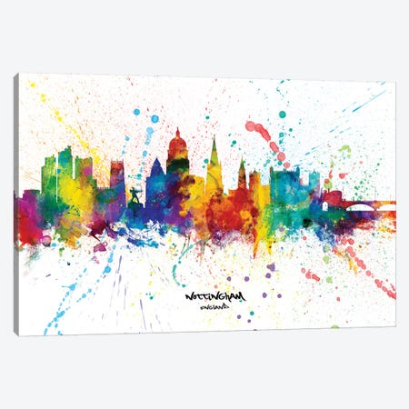 Nottingham England Skyline Splash Canvas Print #MTO2310} by Michael Tompsett Canvas Artwork