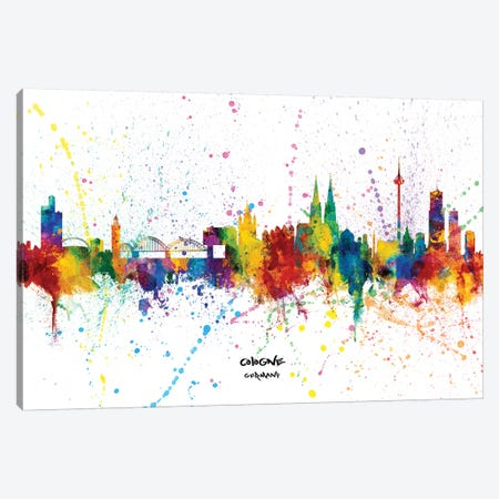 Cologne Germany Skyline Splash Canvas Print #MTO2312} by Michael Tompsett Canvas Wall Art