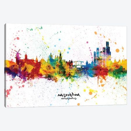 Amsterdam Netherlands Skyline Splash Canvas Print #MTO2314} by Michael Tompsett Canvas Print