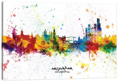 Amsterdam Netherlands Skyline Splash Canvas Art Print