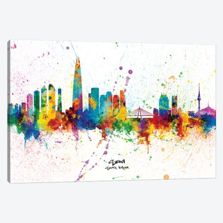 Seoul South Korea Skyline Splash Canvas Print #MTO2316} by Michael Tompsett Canvas Print