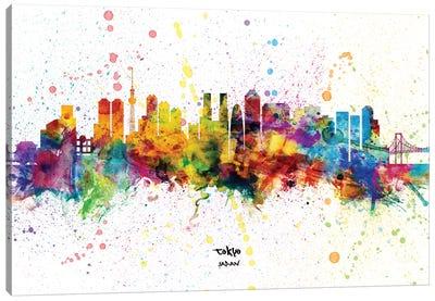 Tokyo Japan Skyline Splash Canvas Art Print
