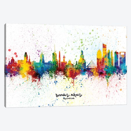 Buenos Aires Argentina Skyline Splash Canvas Print #MTO2318} by Michael Tompsett Canvas Wall Art