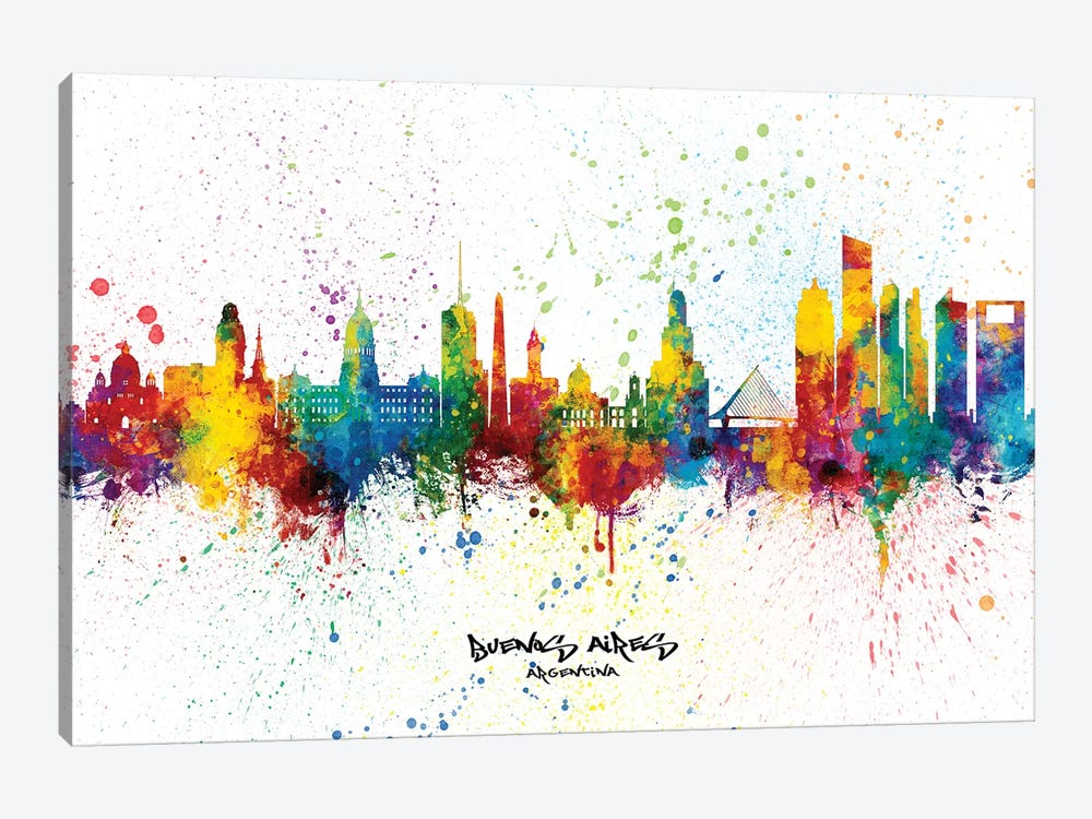 Buenos Aires Argentina Skyline Splash by Michael Tompsett 1-piece Canvas Wall Art