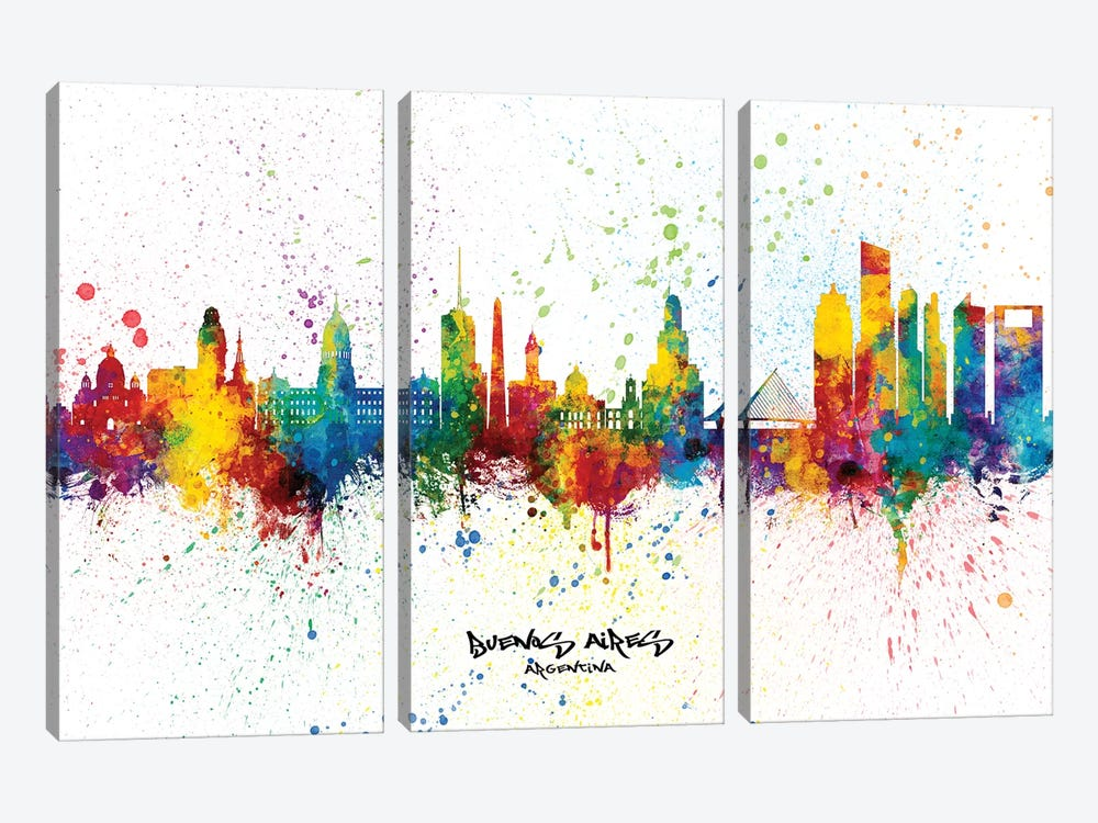 Buenos Aires Argentina Skyline Splash by Michael Tompsett 3-piece Canvas Art
