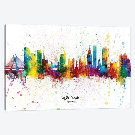 Sao Paulo Brazil Skyline Splash Canvas Print #MTO2319} by Michael Tompsett Canvas Artwork