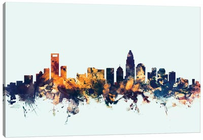 Charlotte, North Carolina, USA On Blue Canvas Art Print