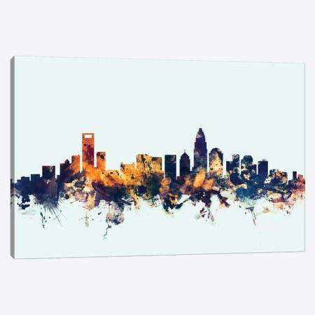 Charlotte, North Carolina, USA On Blue 3-Piece Canvas #MTO231} by Michael Tompsett Canvas Wall Art