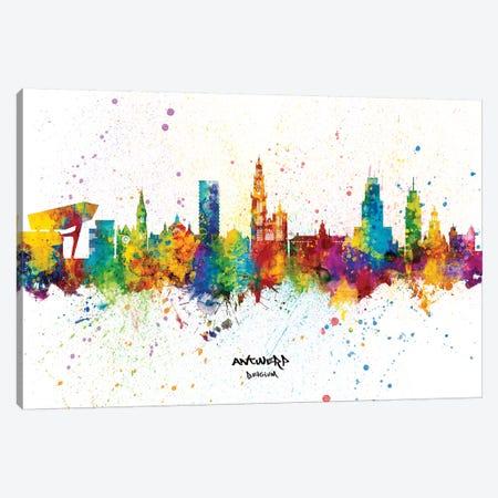 Antwerp Belgium Skyline Splash Canvas Print #MTO2320} by Michael Tompsett Canvas Print