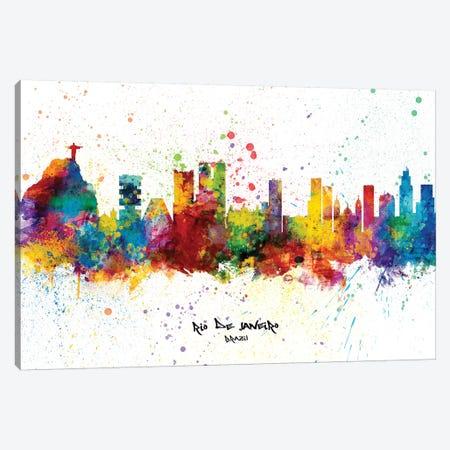 Rio De Janeiro Brazil Skyline Splash Canvas Print #MTO2321} by Michael Tompsett Art Print
