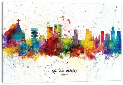 Rio De Janeiro Brazil Skyline Splash Canvas Art Print