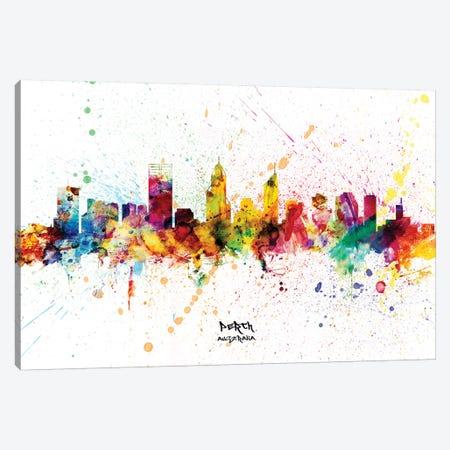 Perth Australia Skyline Splash Canvas Print #MTO2322} by Michael Tompsett Canvas Print