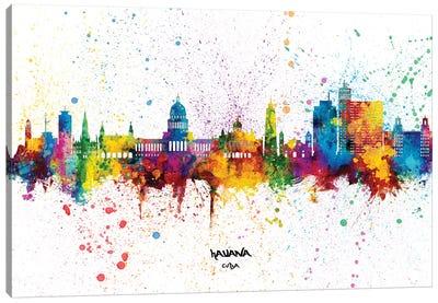 Havana Cuba Skyline Splash Canvas Art Print